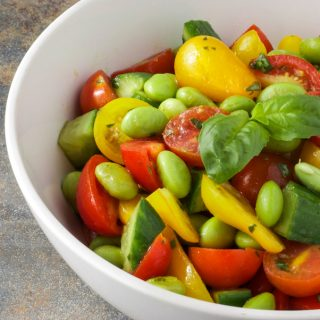 Tomato Edamame Salad with a Lemon Basil Vinaigrette {Vegan}