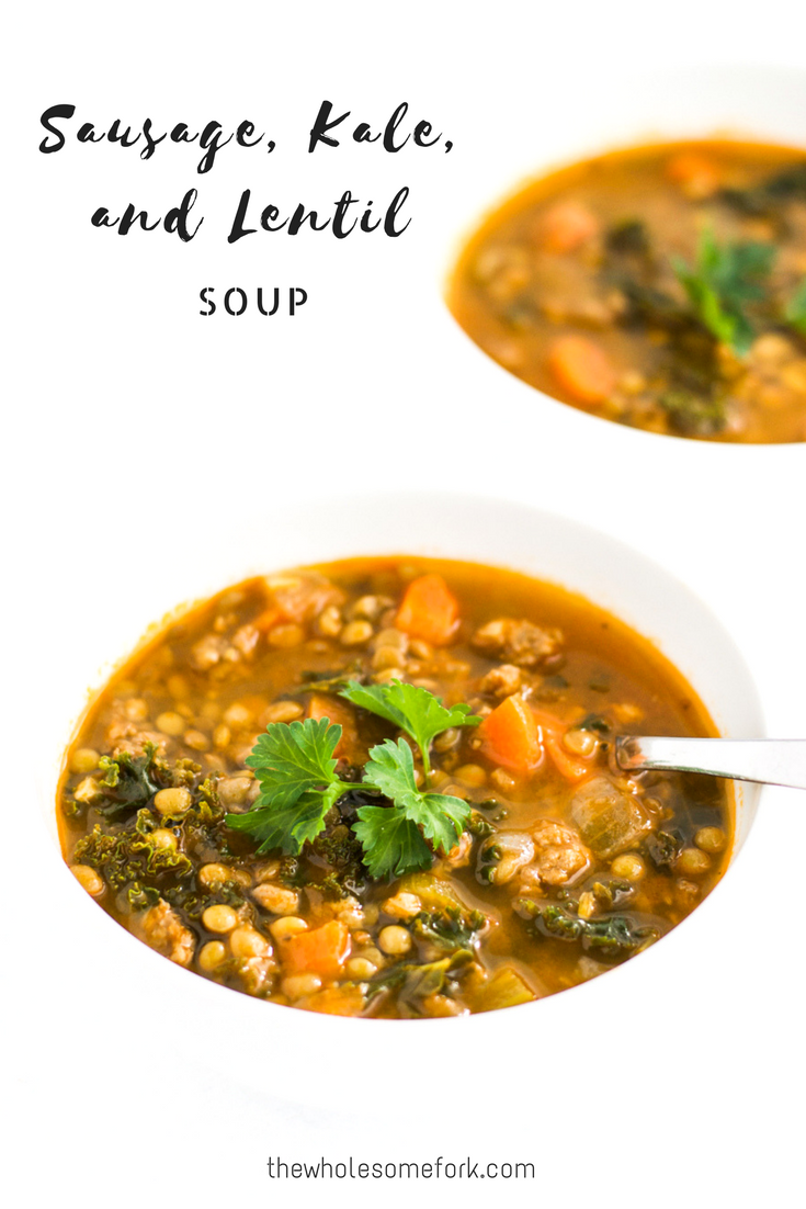 Sausage, kale, and lentil soup