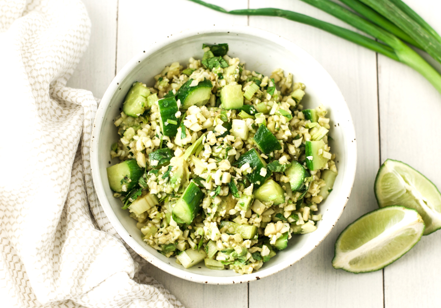 Green cauliflower rice salad