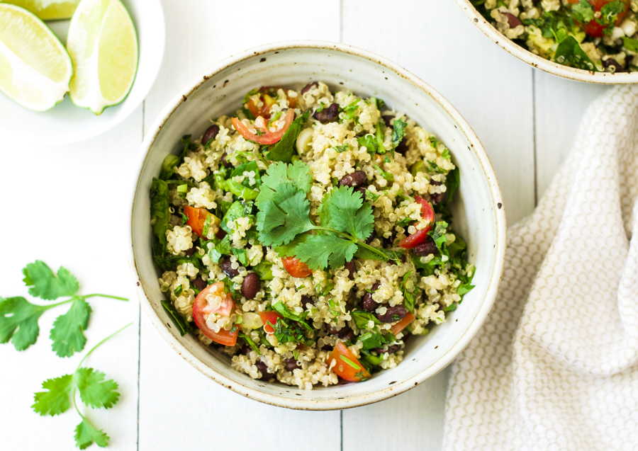 Cilantro lime quinoa black bean salad {vegan}