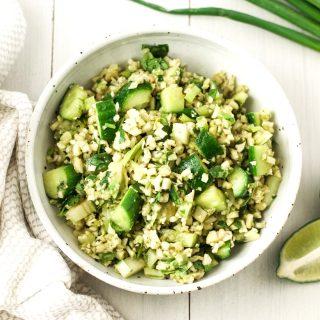 Green cauliflower rice salad {vegan}